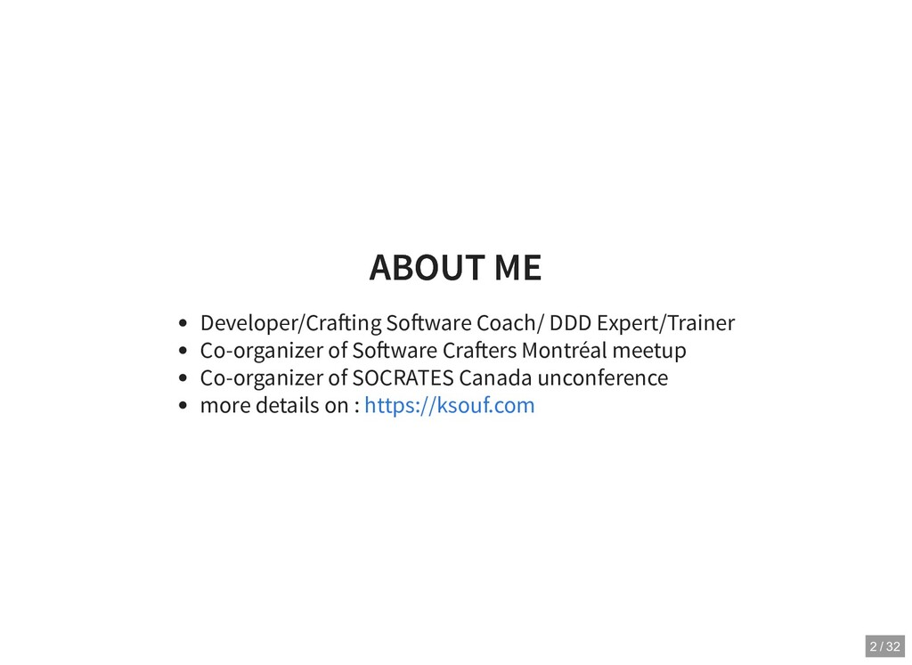 ABOUT ME ABOUT ME Developer/Cra ing So ware Coa...