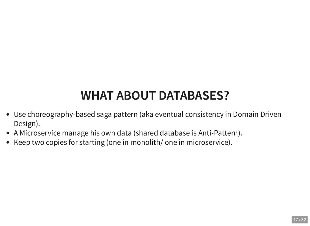 WHAT ABOUT DATABASES? WHAT ABOUT DATABASES? Use...