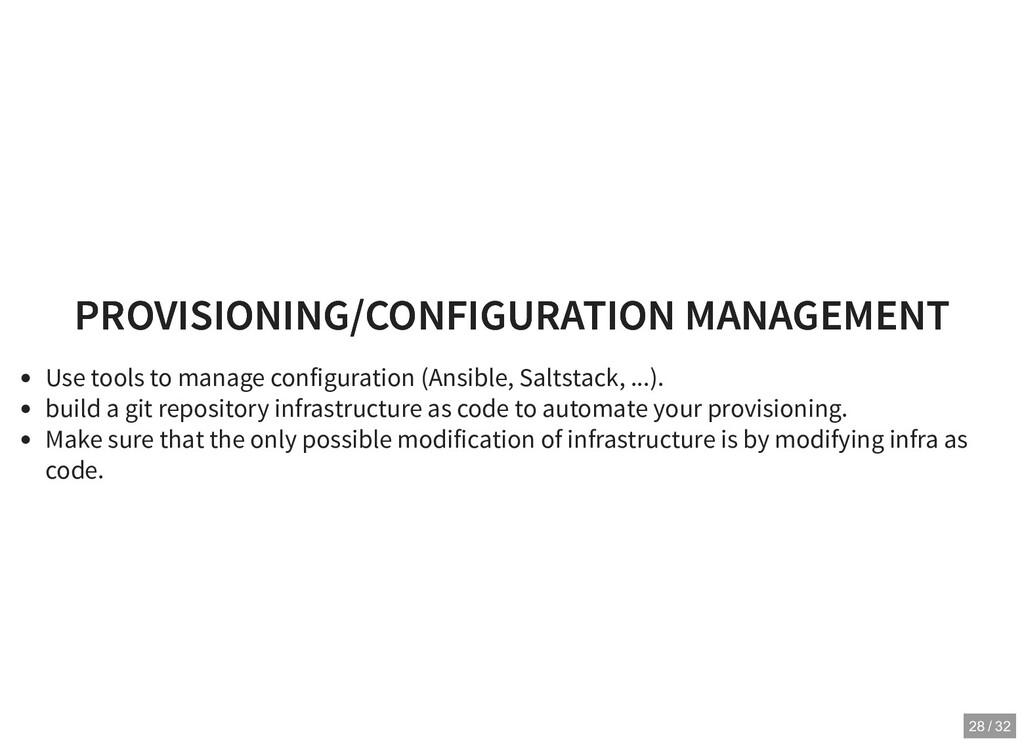 PROVISIONING/CONFIGURATION MANAGEMENT PROVISION...