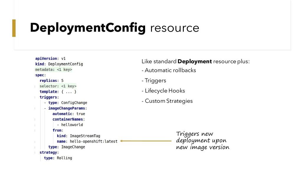 DeploymentConfig resource Like standard Deploym...