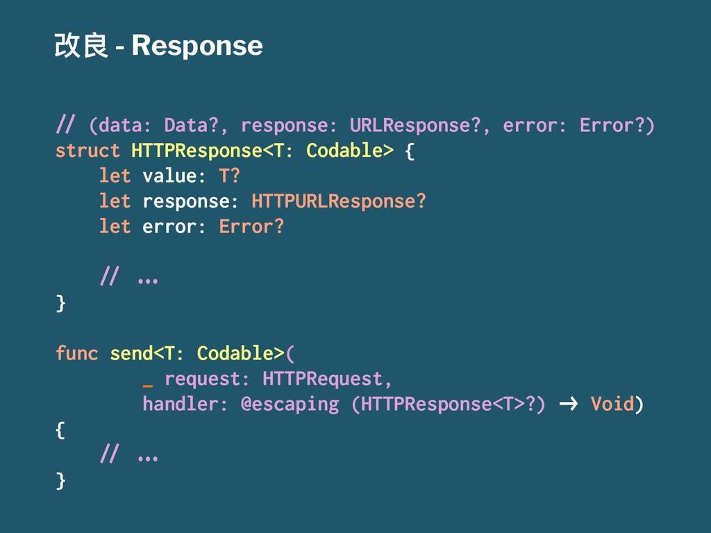 """දᜉ - Response !"""" (data: Data?, response: URLRes..."""