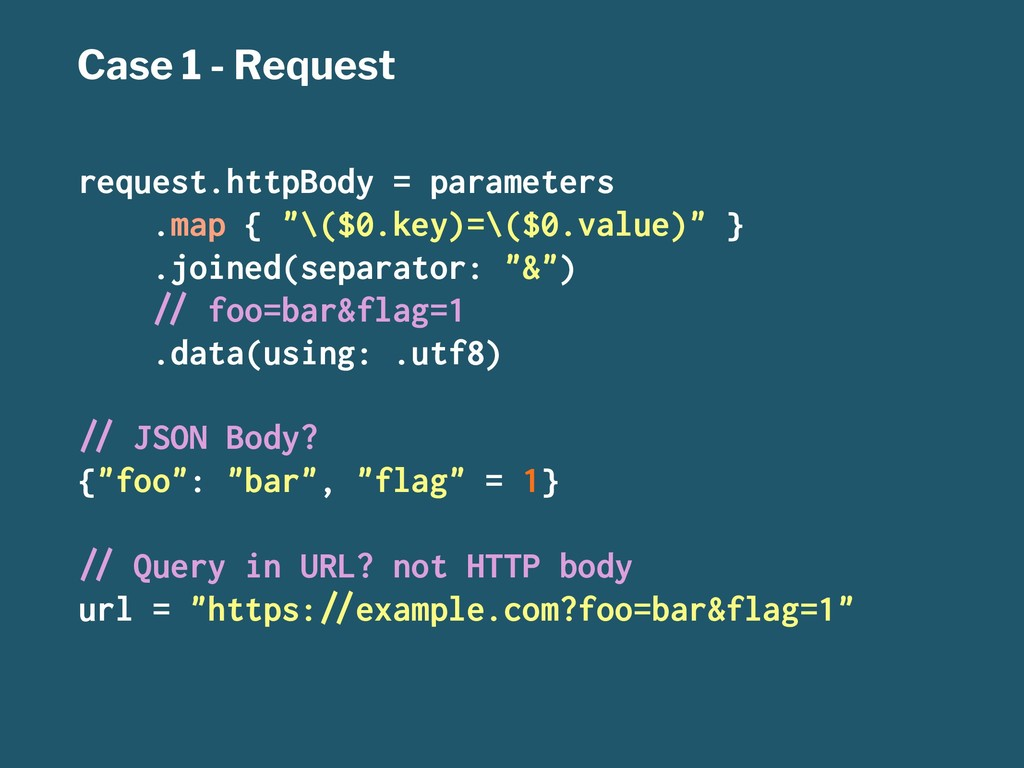 Case 1 - Request request.httpBody = parameters ...