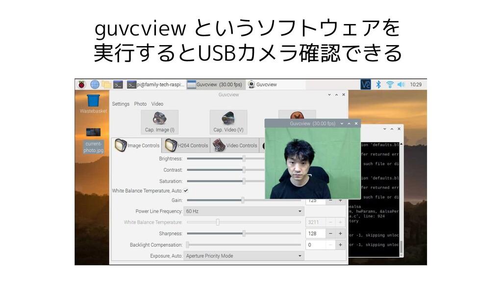 guvcview というソフトウェアを 実行するとUSBカメラ確認できる