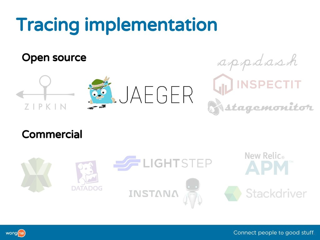 Tracing implementation Open source Commercial