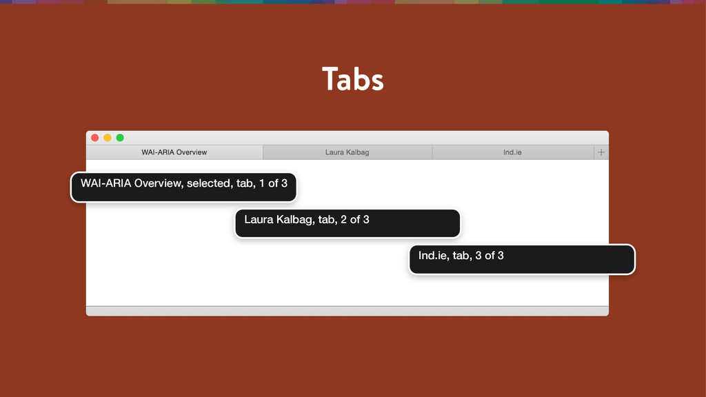 Tabs WAI-ARIA Overview, selected, tab, 1 of 3 L...