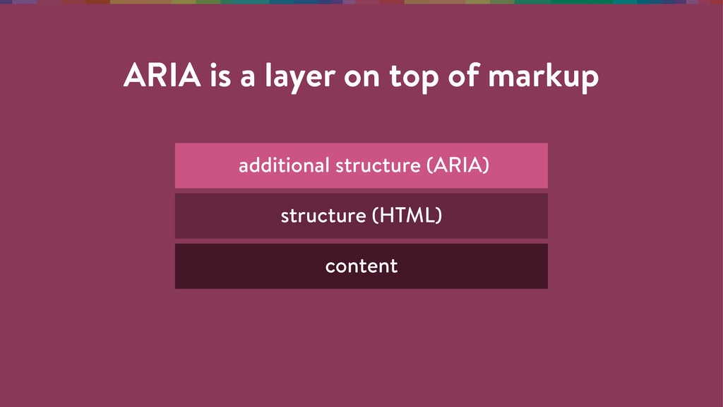 ARIA is a layer on top of markup content struct...