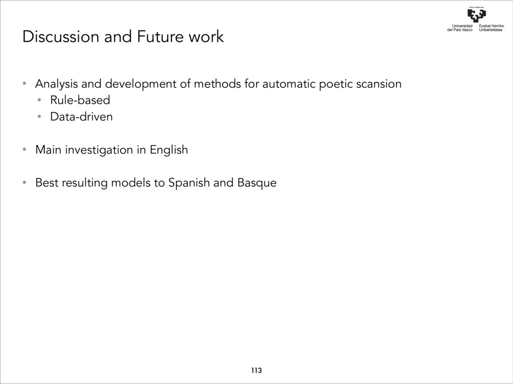 Discussion and Future work 113 • Analysis and d...