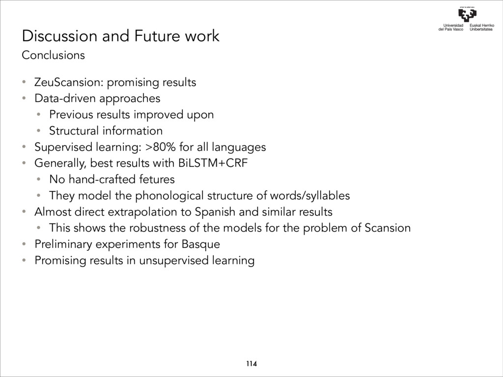 Discussion and Future work Conclusions 114 • Ze...