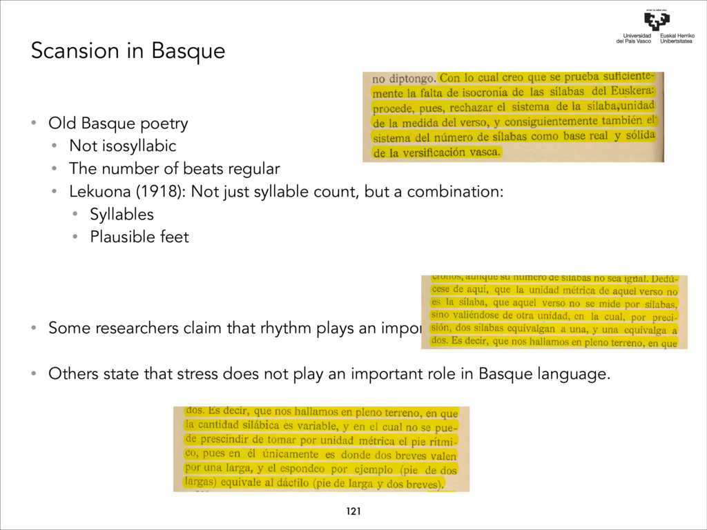Scansion in Basque • Old Basque poetry • Not is...