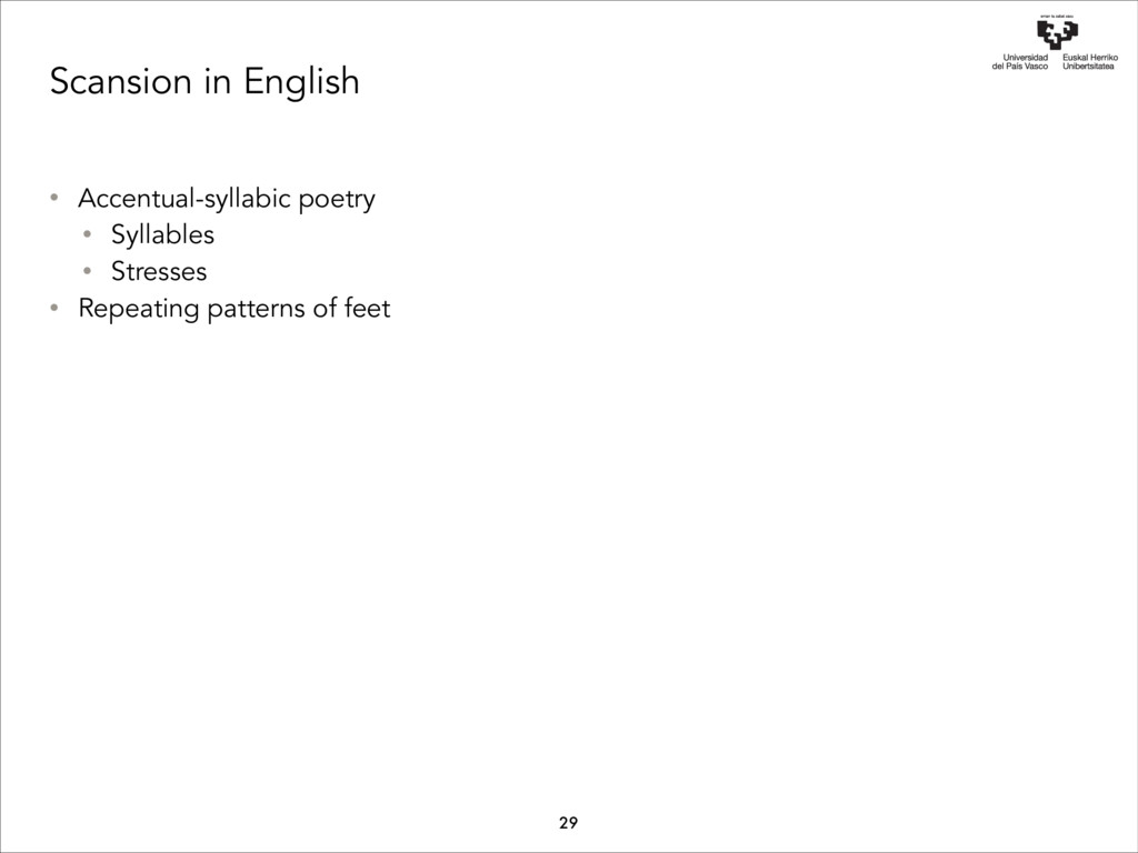 Scansion in English • Accentual-syllabic poetry...