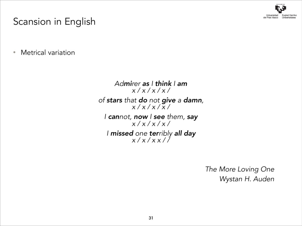 Scansion in English • Metrical variation Admire...
