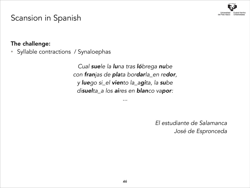 Scansion in Spanish The challenge: • Syllable c...