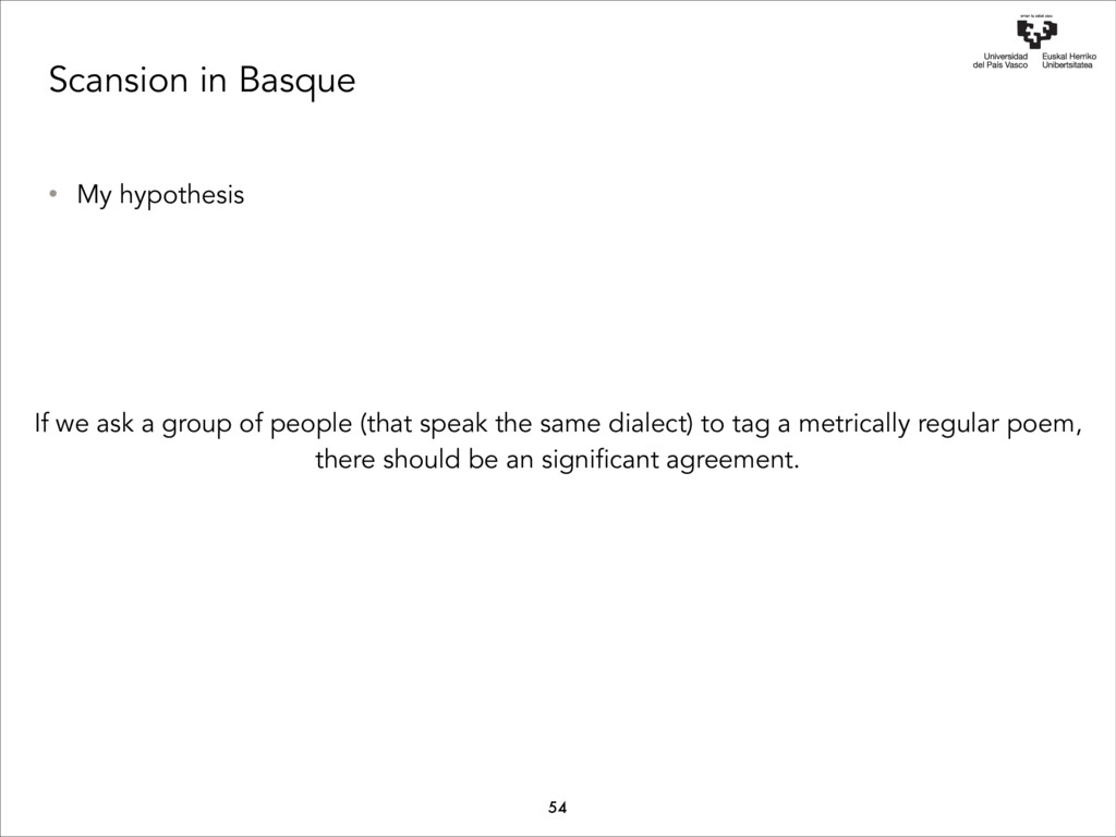 Scansion in Basque • My hypothesis If we ask a ...