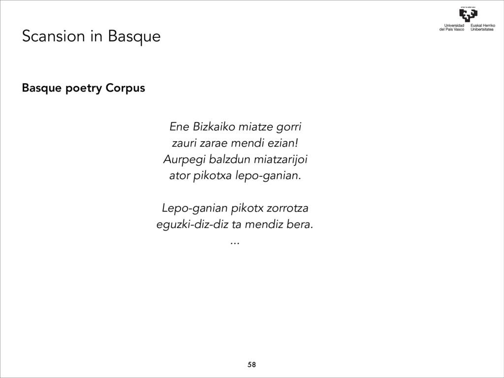 Scansion in Basque Basque poetry Corpus Ene Biz...