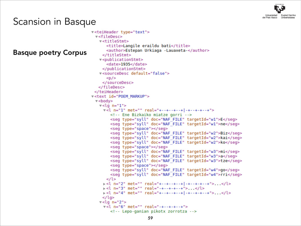 Scansion in Basque Basque poetry Corpus 59 Ene ...