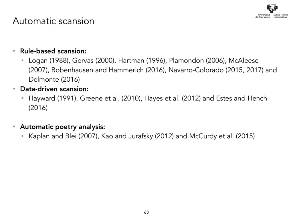 Automatic scansion • Rule-based scansion: • Log...
