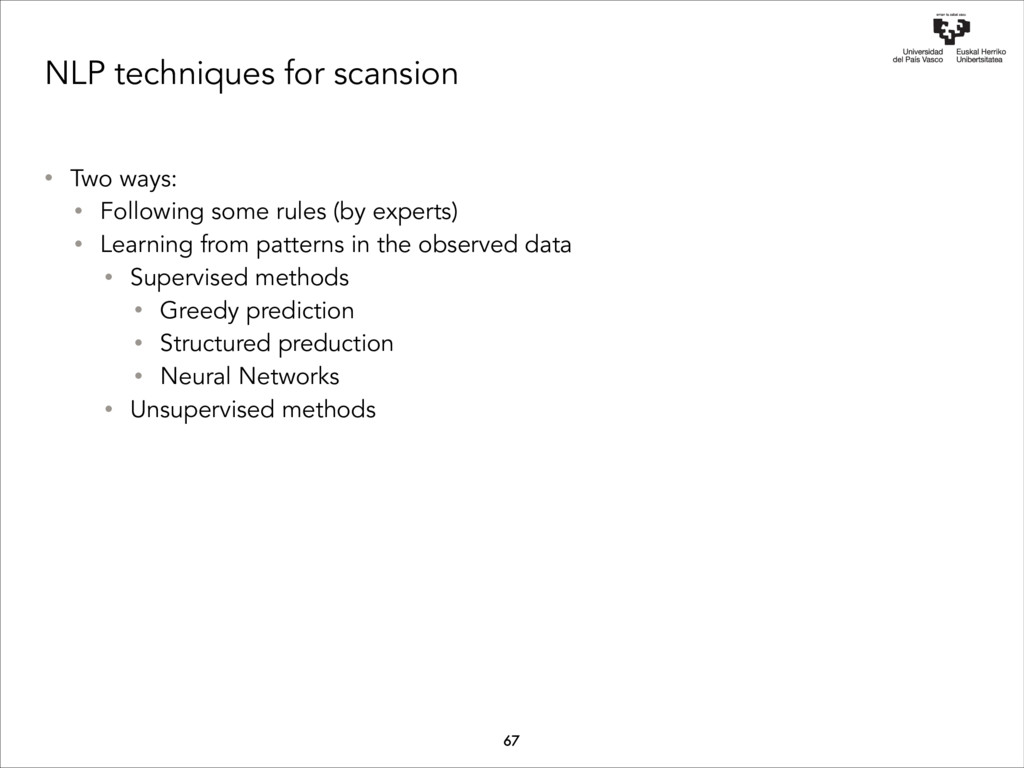 NLP techniques for scansion • Two ways: • Follo...