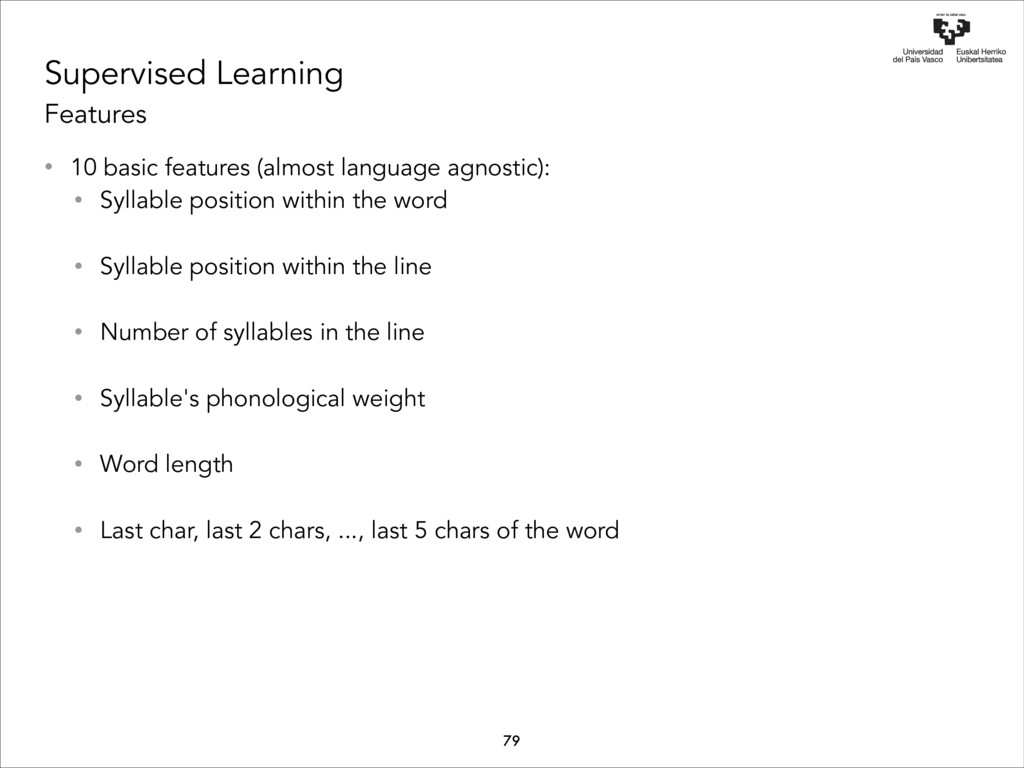 Supervised Learning Features • 10 basic feature...