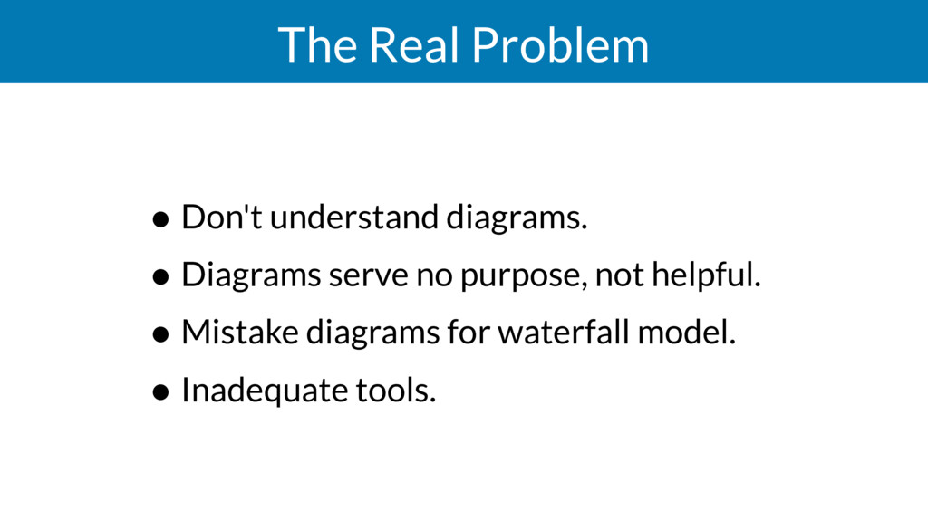 The Real Problem • Don't understand diagrams. •...