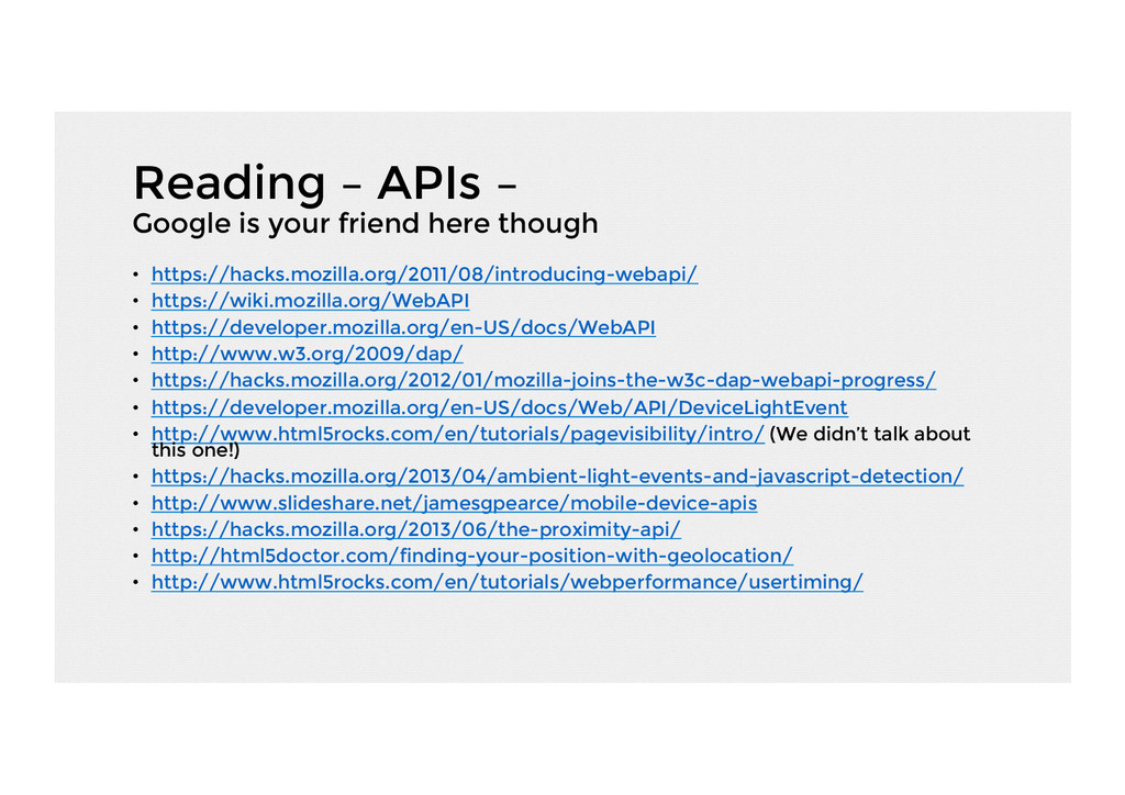 Reading – APIs – Google is your friend here tho...