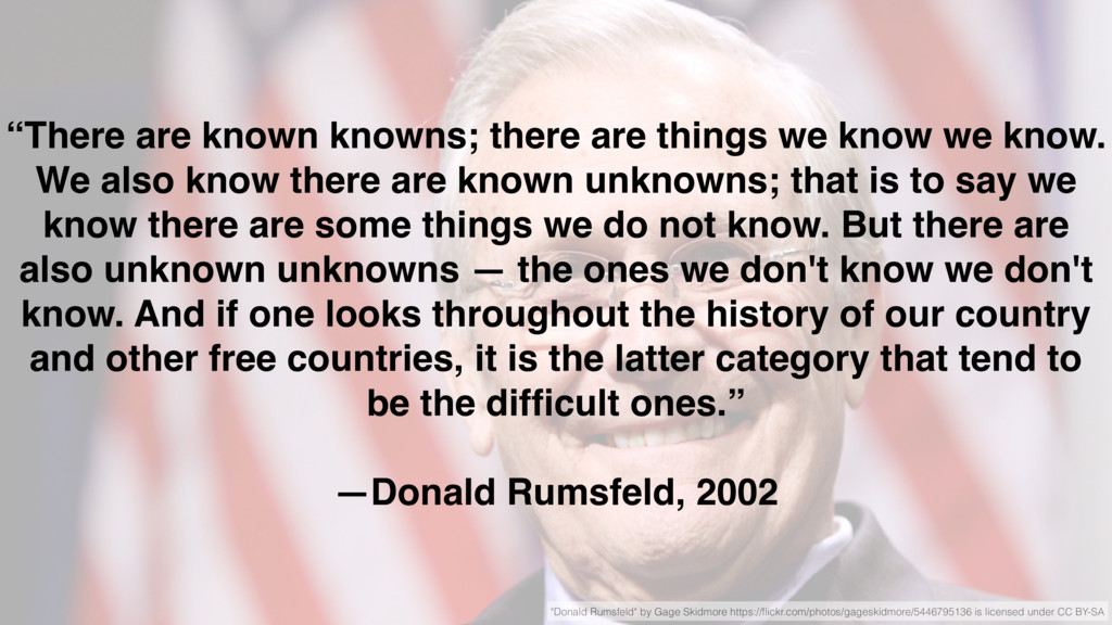 """""""There are known knowns; there are things we kn..."""