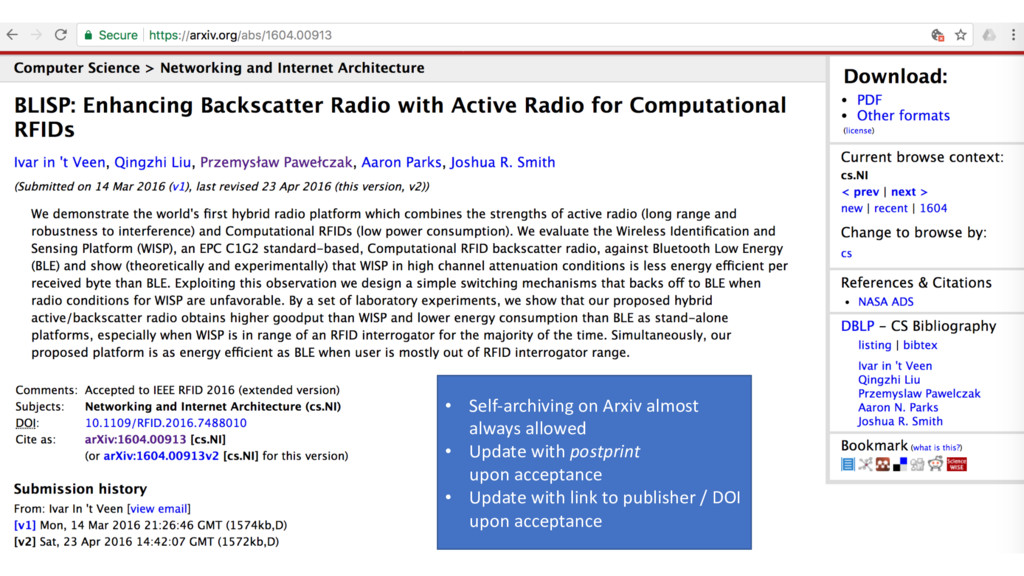 16 • Self-archiving on Arxiv almost always allo...