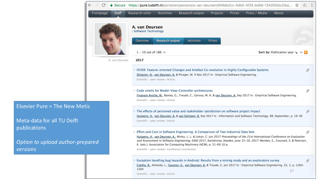 17 Elsevier Pure = The New Metis Meta-data for ...