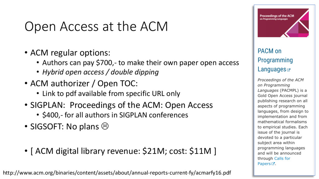 Open Access at the ACM • ACM regular options: •...