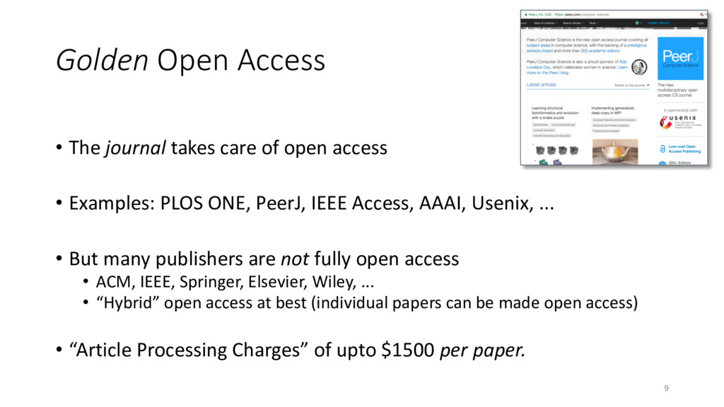 Golden Open Access • The journal takes care of ...