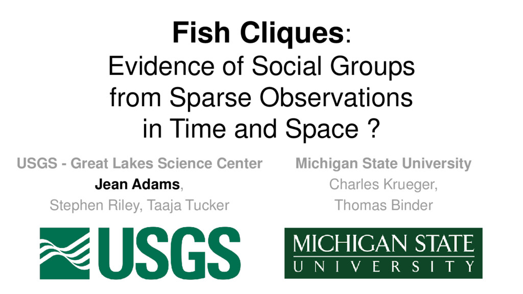 Fish Cliques: Evidence of Social Groups from Sp...
