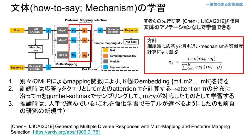 文体(how-to-say; Mechanism)の学習 [Chen+, IJICAI2019...