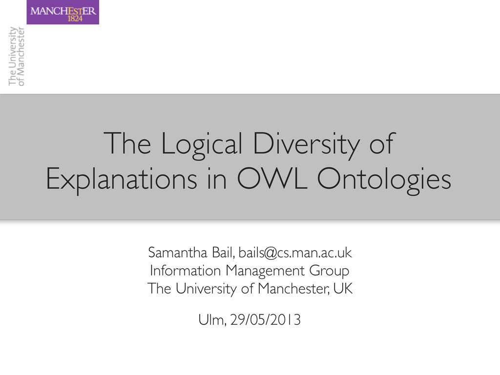 Samantha Bail, bails@cs.man.ac.uk Information M...