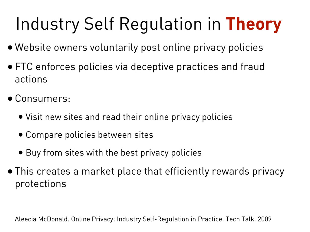 Industry Self Regulation in Theory •Website own...