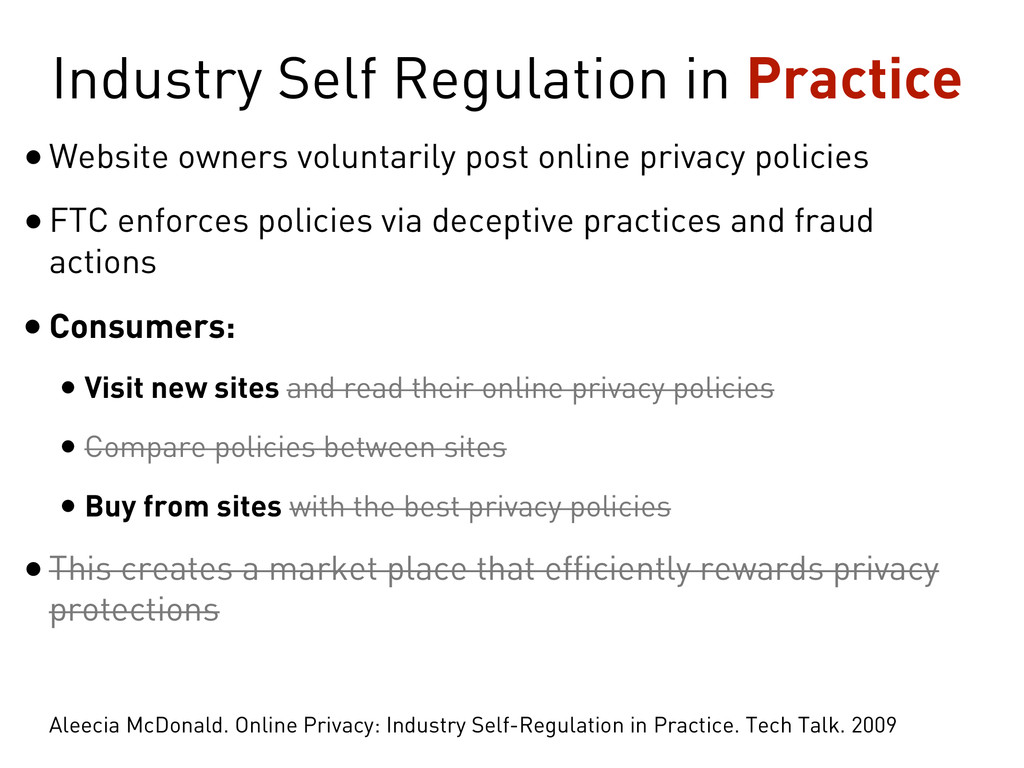 Industry Self Regulation in Practice •Website o...