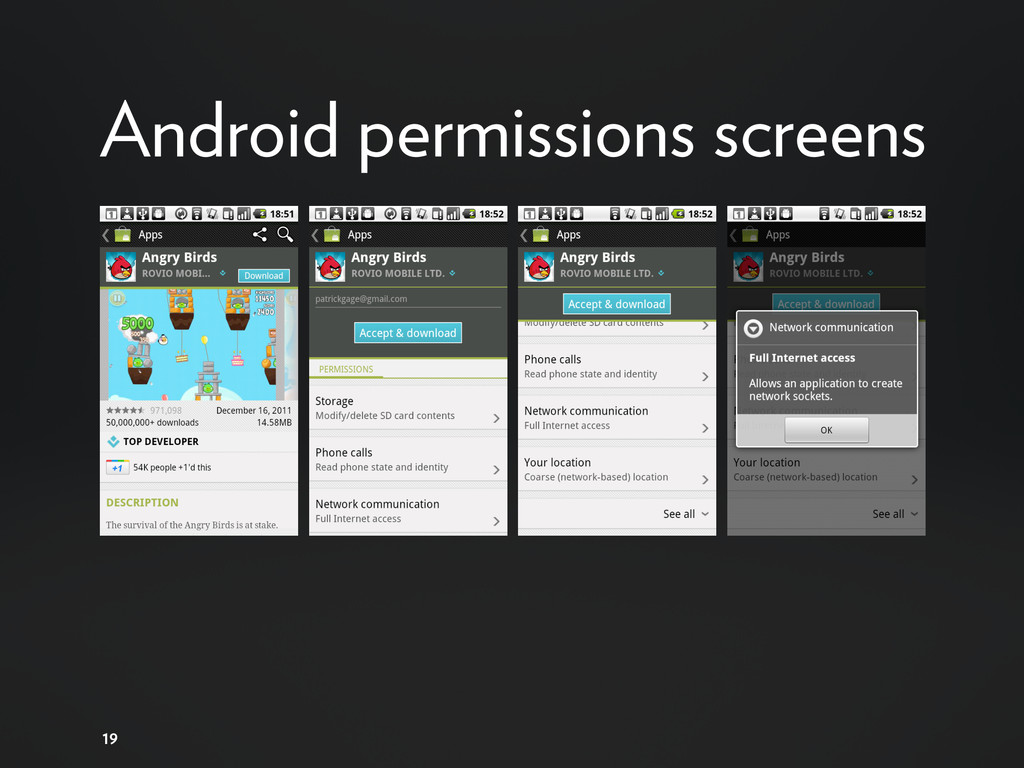 19 Android permissions screens