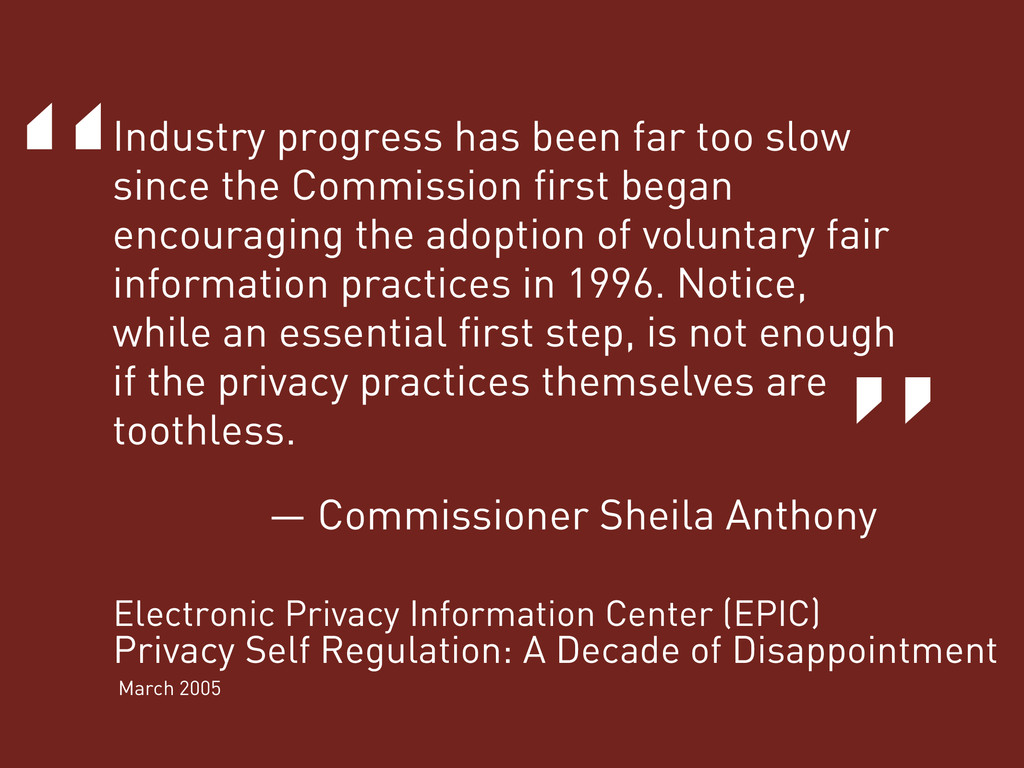 """ "" Industry progress has been far too slow sin..."