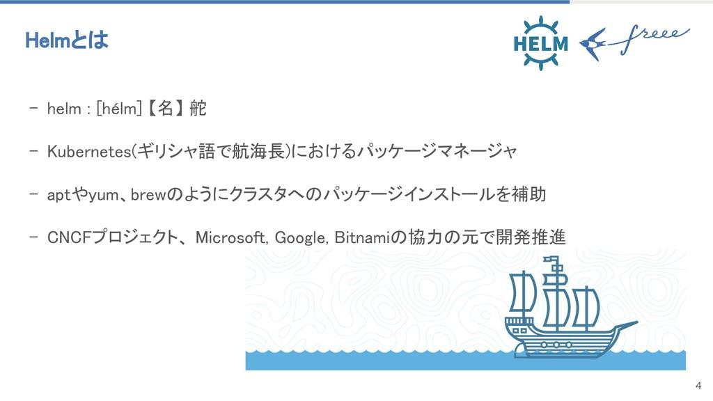 4 - helm : [hélm] 【名】 舵 - Kubernetes(ギリシャ語で航海長)...