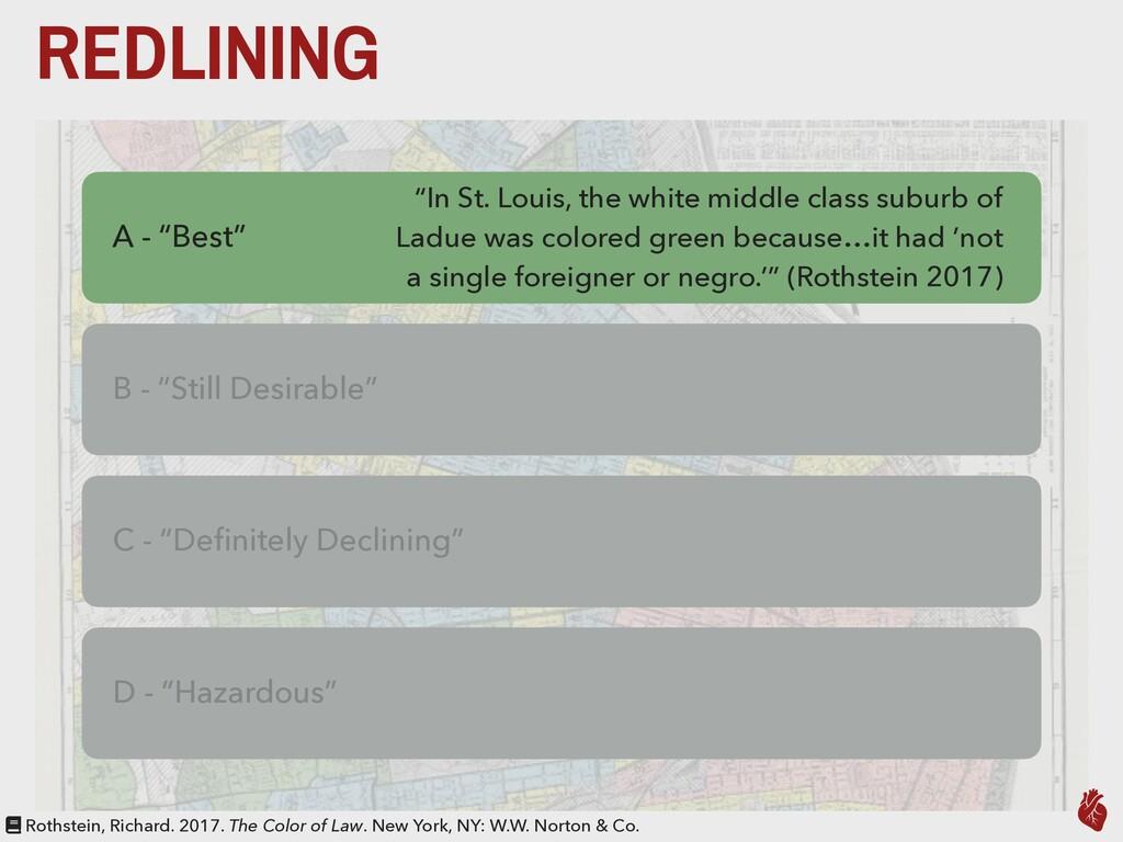 "REDLINING A - ""Best"" B - ""Still Desirable"" C - ..."