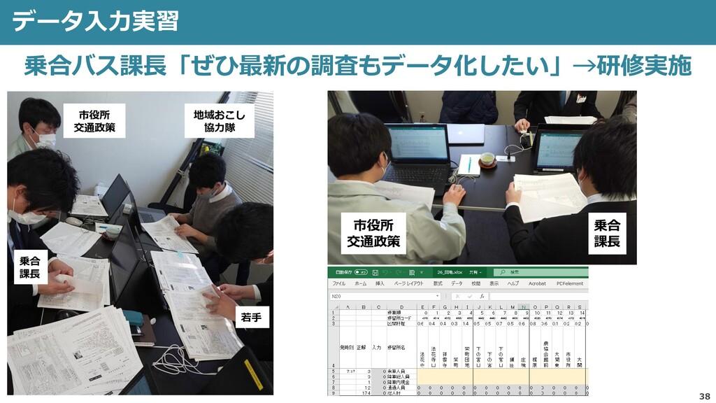 データ入力実習 38 乗合バス課長「ぜひ最新の調査もデータ化したい」→研修実施 乗合 課長 若...