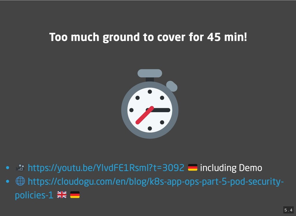 / Too much ground to cover for 45 min! Too much...