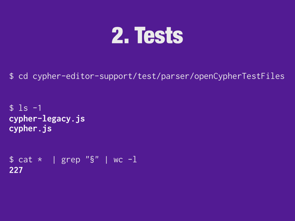 2. Tests $ cd cypher-editor-support/test/parser...