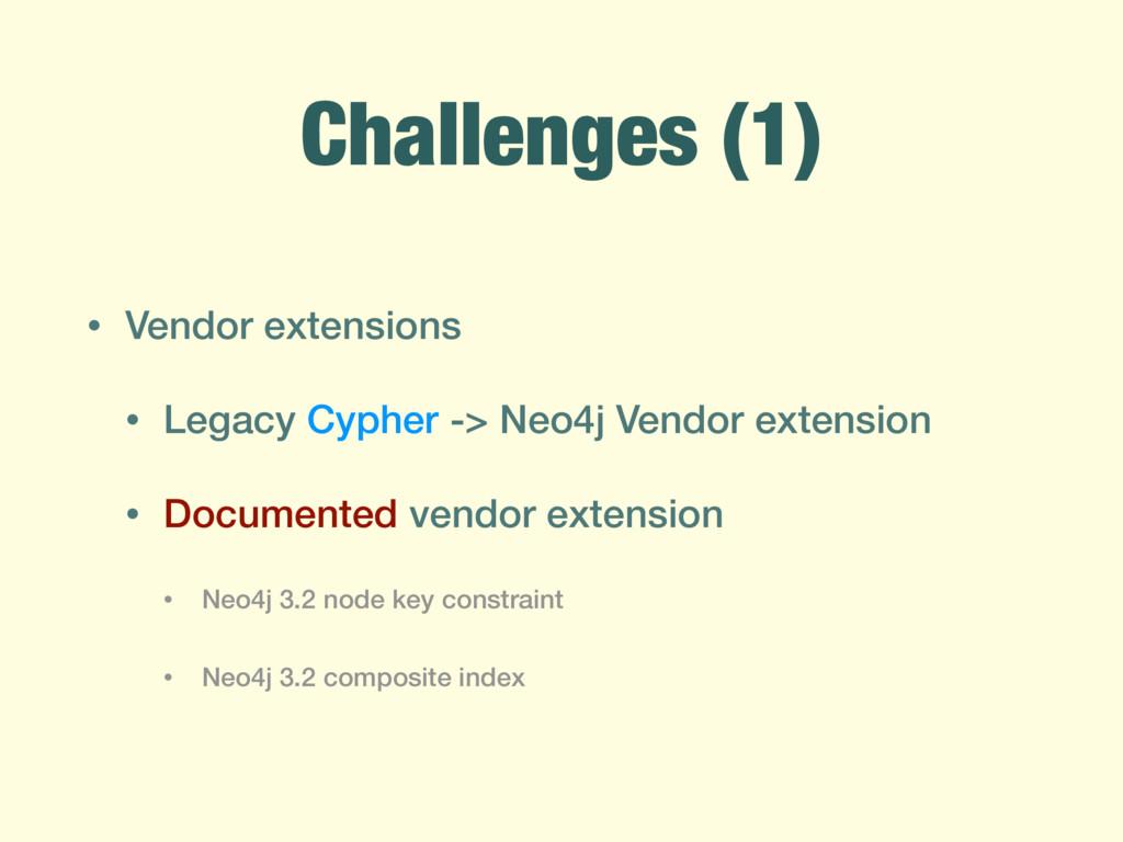 Challenges (1) • Vendor extensions • Legacy Cyp...