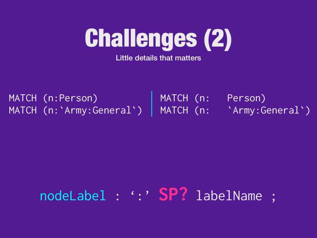 Challenges (2) Little details that matters node...
