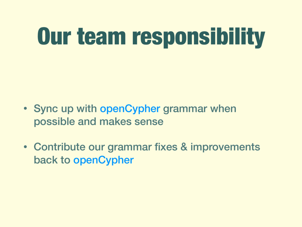 Our team responsibility • Sync up with openCyph...