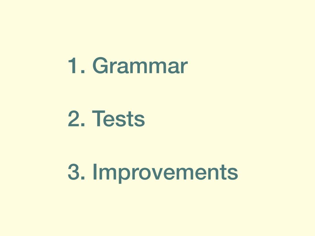1. Grammar 2. Tests 3. Improvements