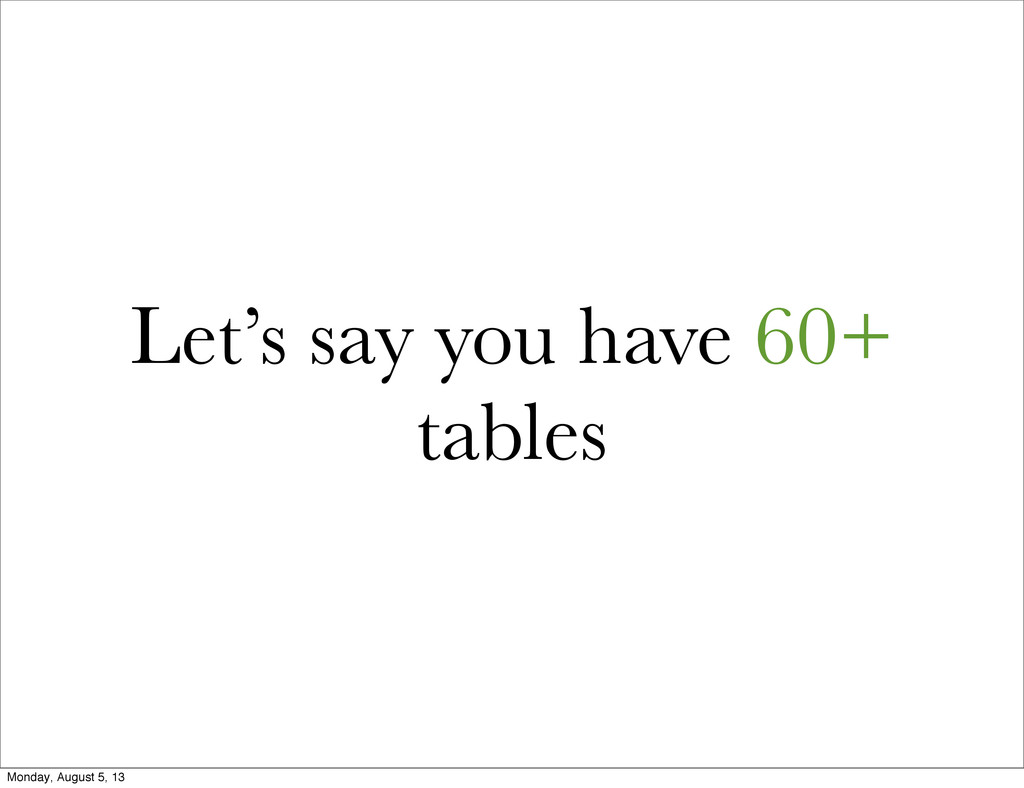 Let's say you have 60+ tables Monday, August 5,...