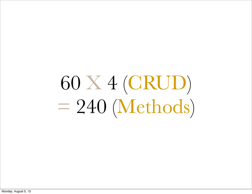 60 X 4 (CRUD) = 240 (Methods) Monday, August 5,...