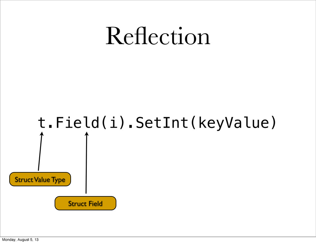 Reflection t.Field(i).SetInt(keyValue) Struct Va...