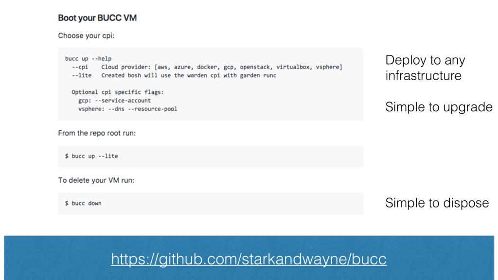 https://github.com/starkandwayne/bucc Deploy to...