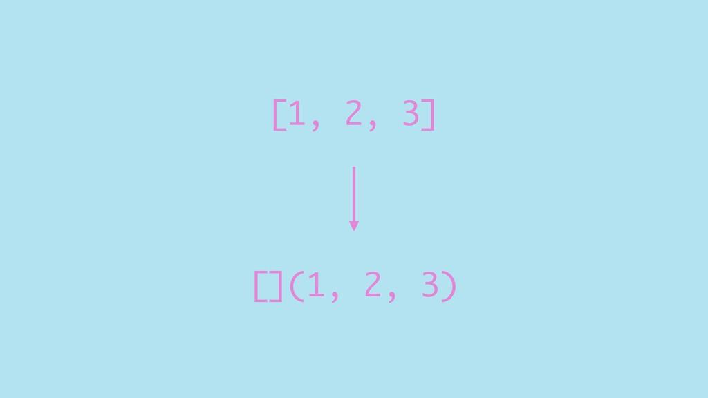 [1, 2, 3] [](1, 2, 3)
